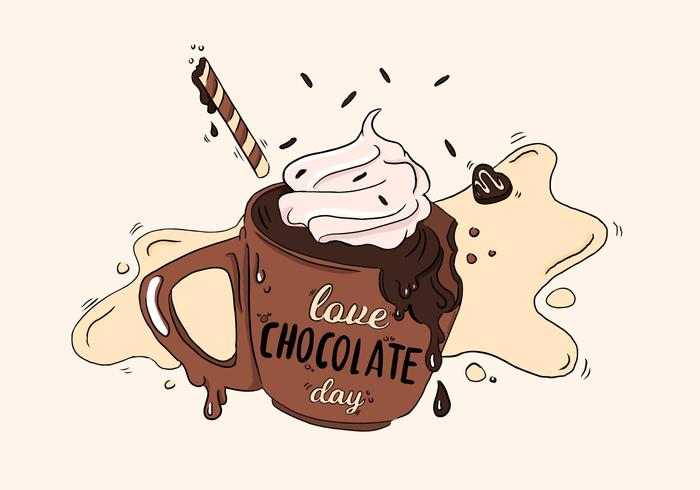 Cute Chocolate Coffee With Cream Vector
