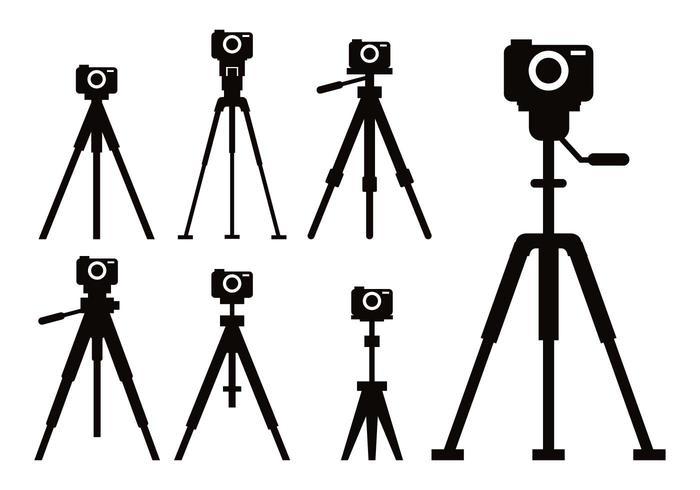 Camera tripod icon vector set