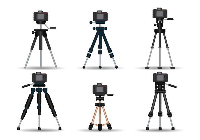 Camera tripod realistic vector set