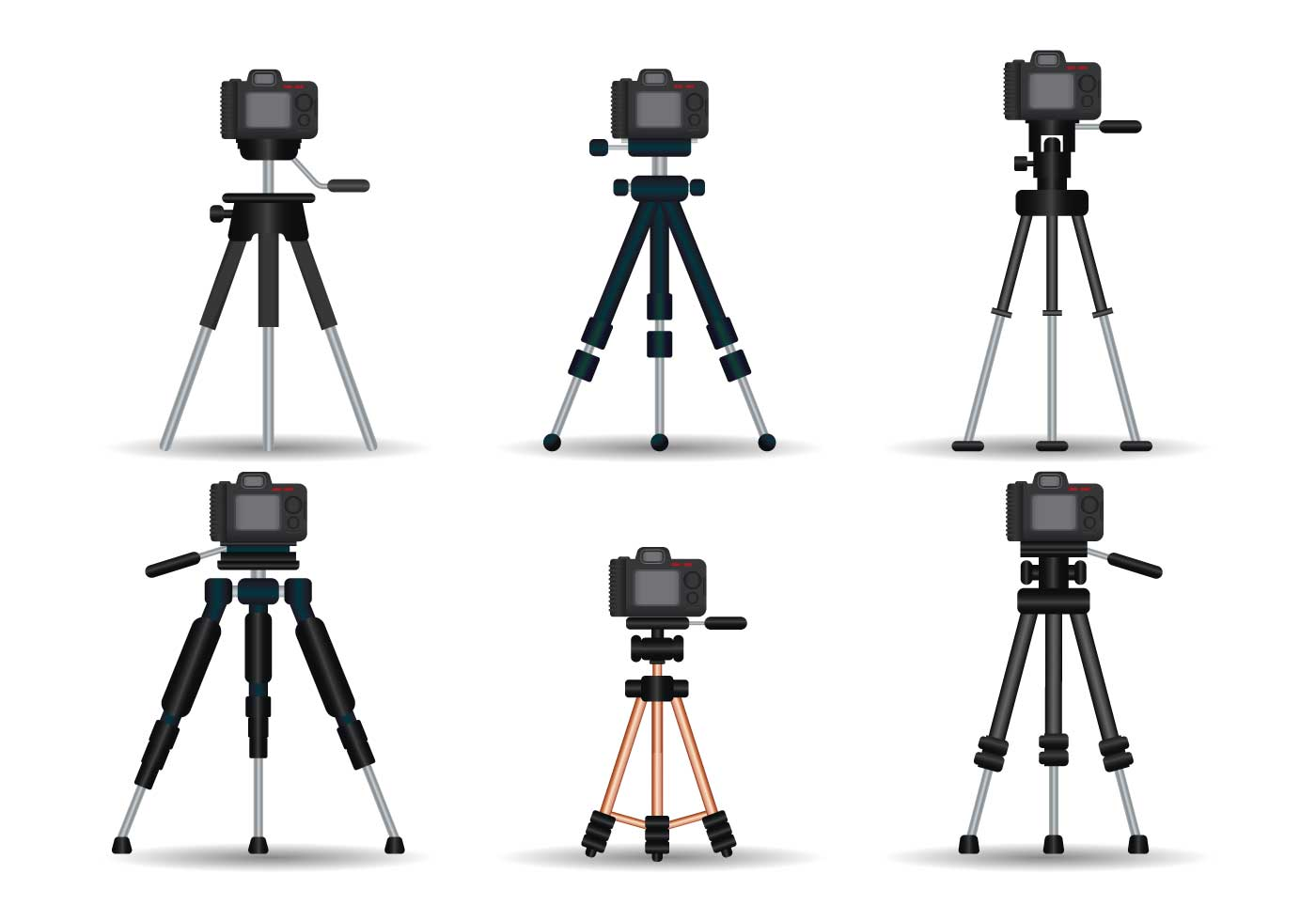 camera tripod realistic vector set