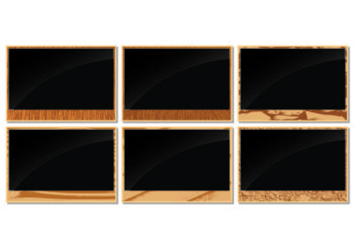 Marcos de foto con bordes de madera de grano