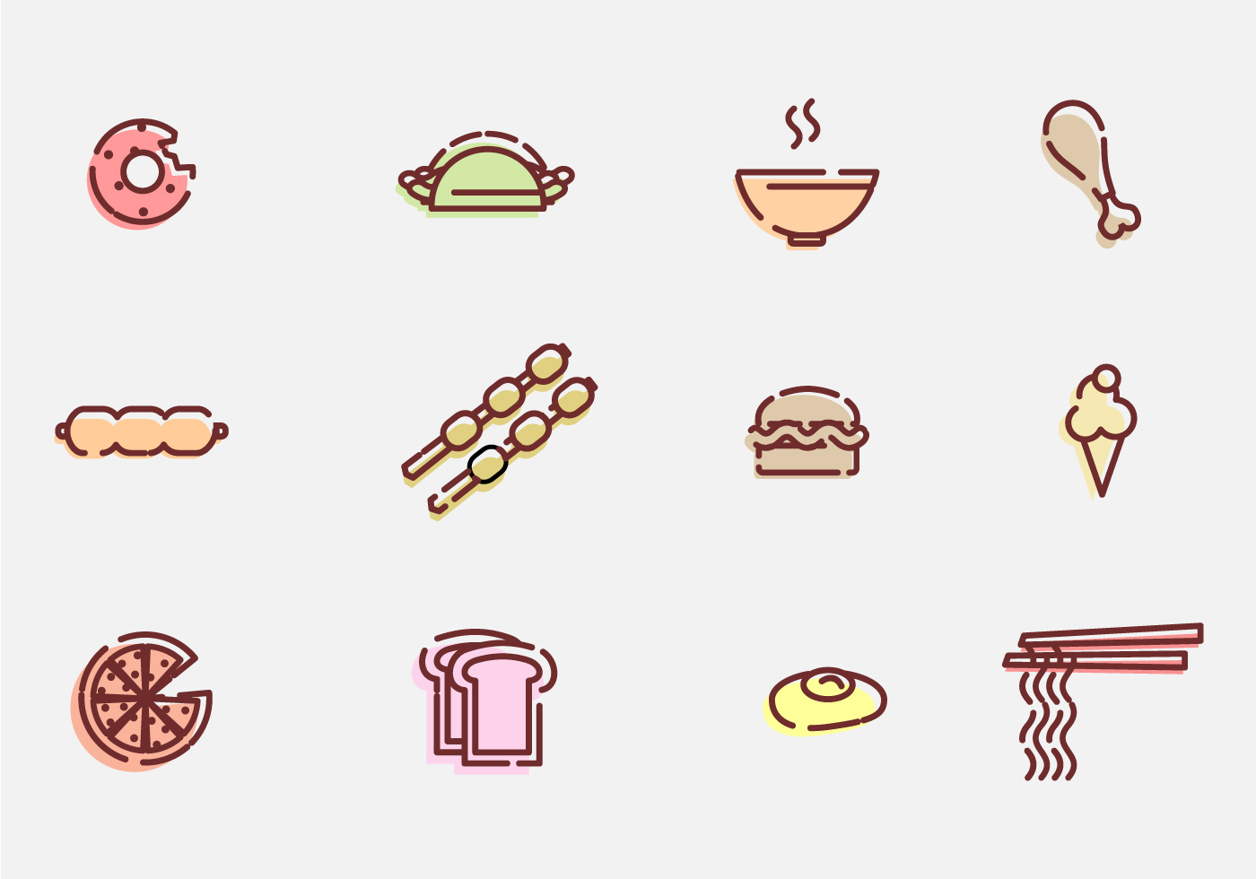 Food and appetizer vector icons download free vector art for Canape vector download
