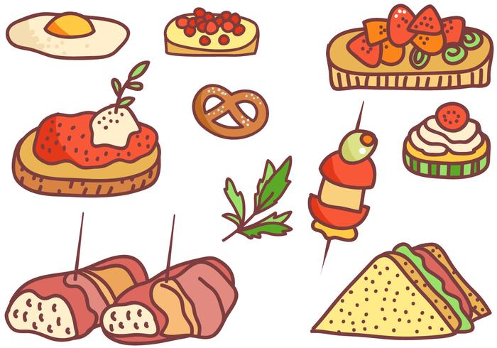 Free Doodle Appetizers Vectors