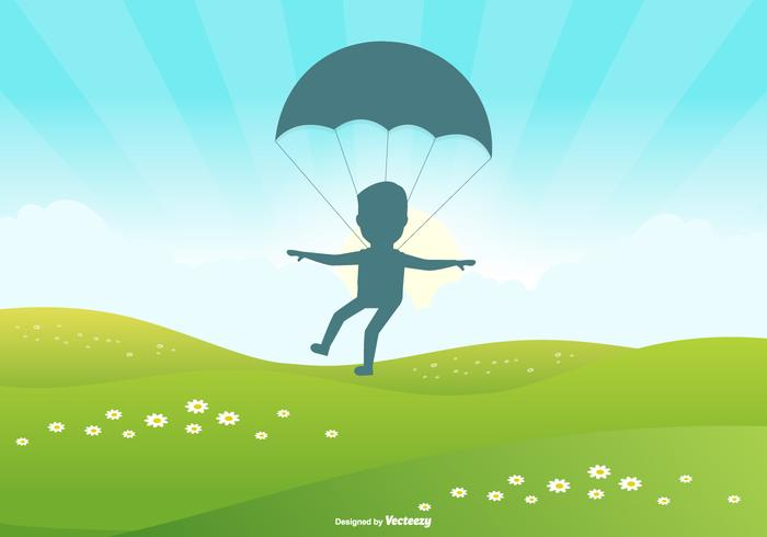 Cute Landscape Scene with Skydiver