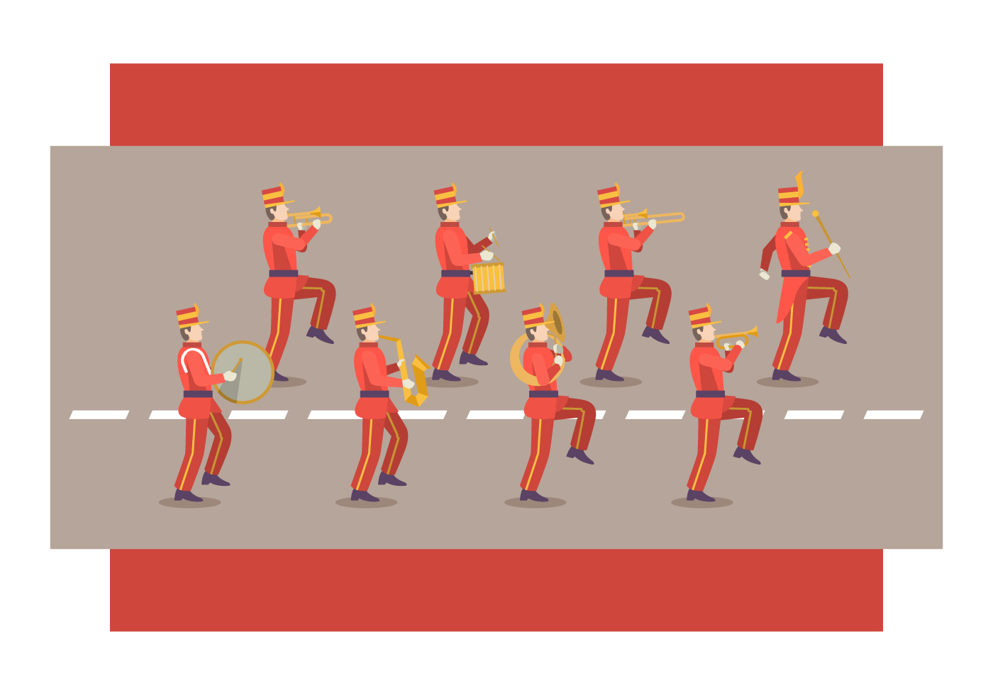Free Marching Band Vector Illustration Download Art 1 Set Alat Stock Graphics Images