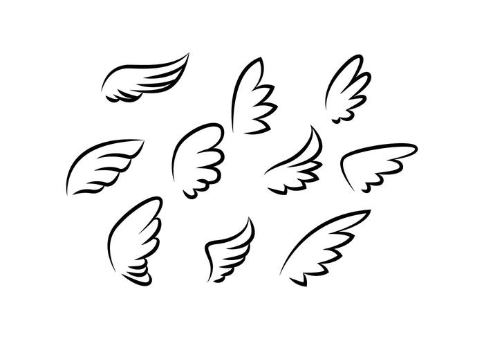 Free Wings Collection Line Vector