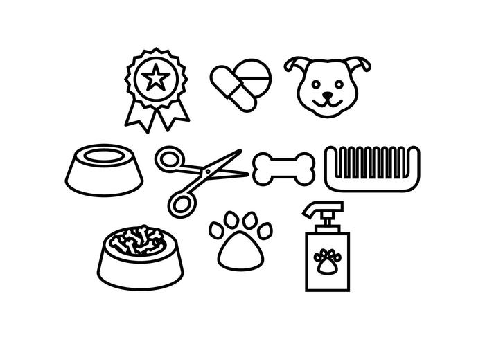 Free Dog Accessories Line Icon Vector