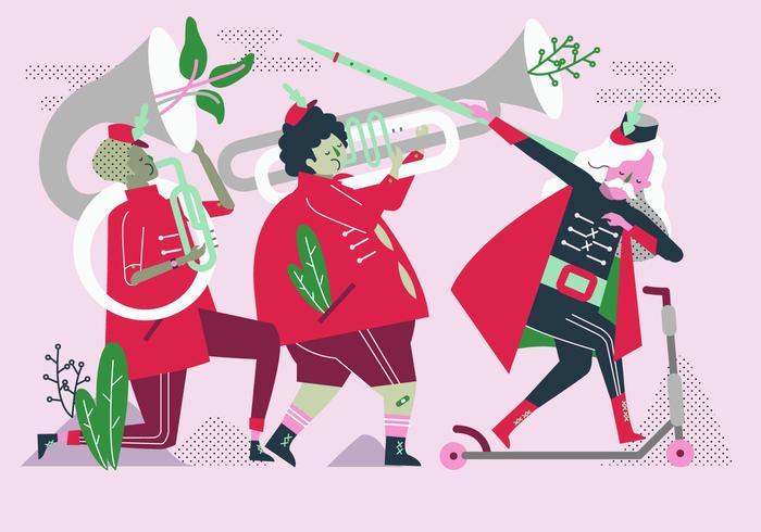 Marching Band Parade Vektor flache Charakter Illustration