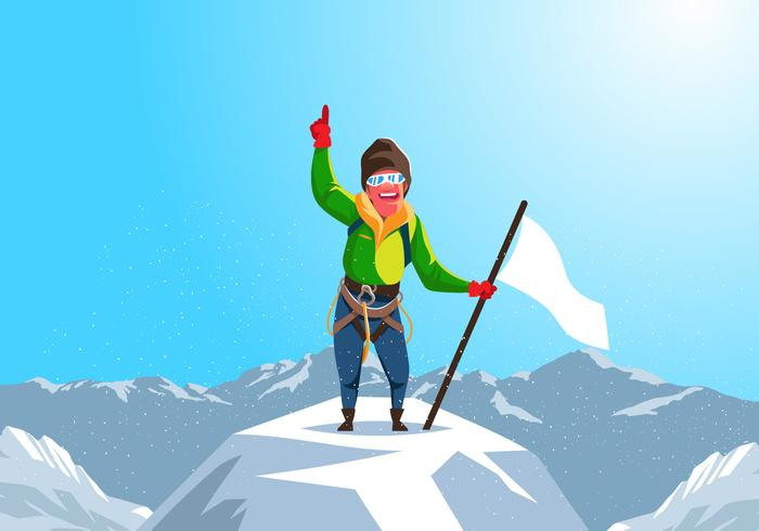 Alpinist Reaches The Top Of The Mountain Vector