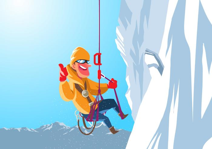 An Alpinist Hangs On A Cliff