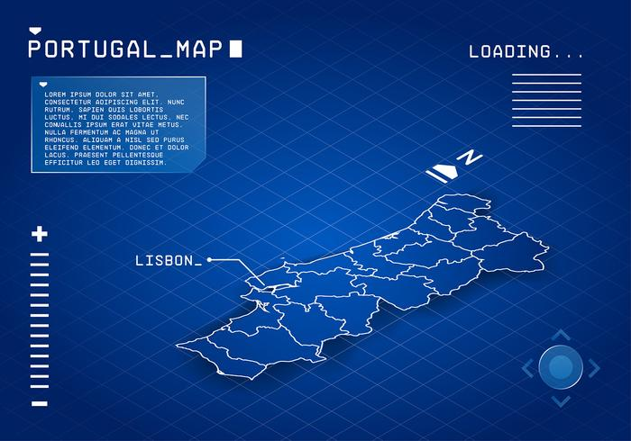 Portugal Map Digital Free Vector