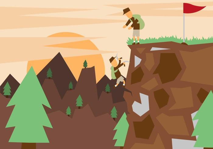 Vettore piano dell'illustrazione del paesaggio dell'alpinista