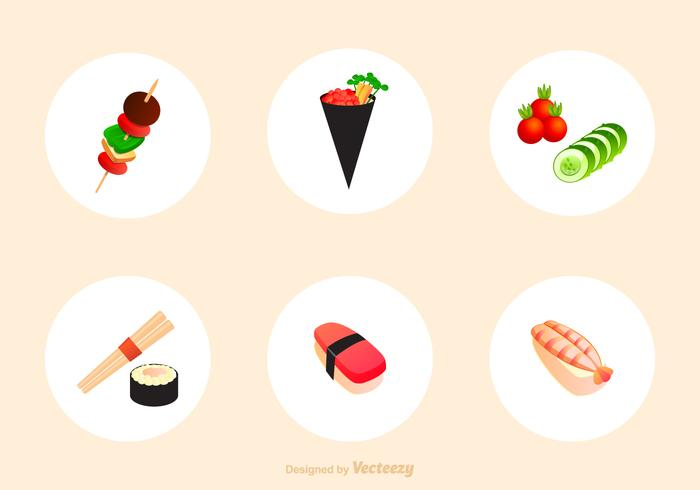 Japanese Appetizers Vector Icons