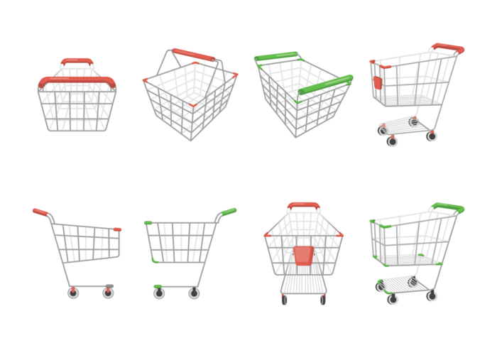 Supermarket Cart Icons Vector