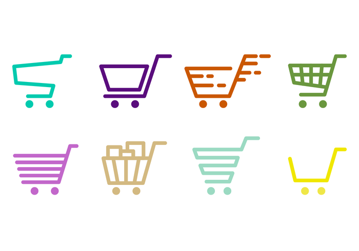 Supermarket Cart Outline Vector
