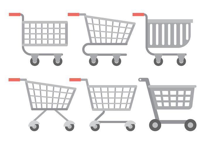 Supermarkt cart vector iconen