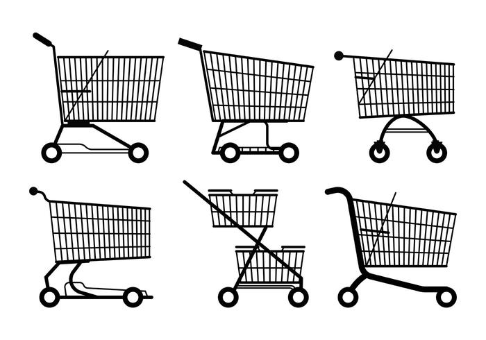 Supermarket Cart Vector Icons