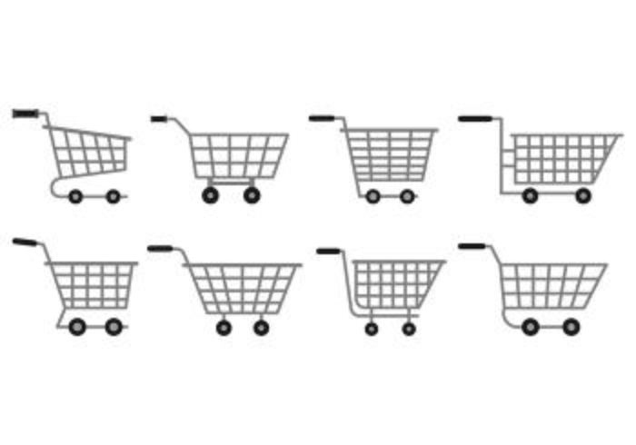 Set Of Supermarket Cart Icons
