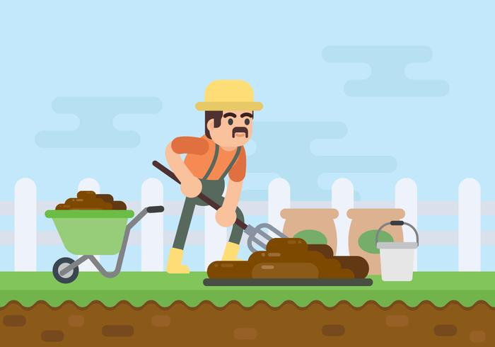 Illustrazione di scavatura del fertilizzante organico dell'agricoltore