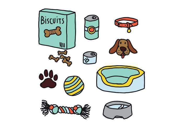 Doodles coloridos dos elementos do cão