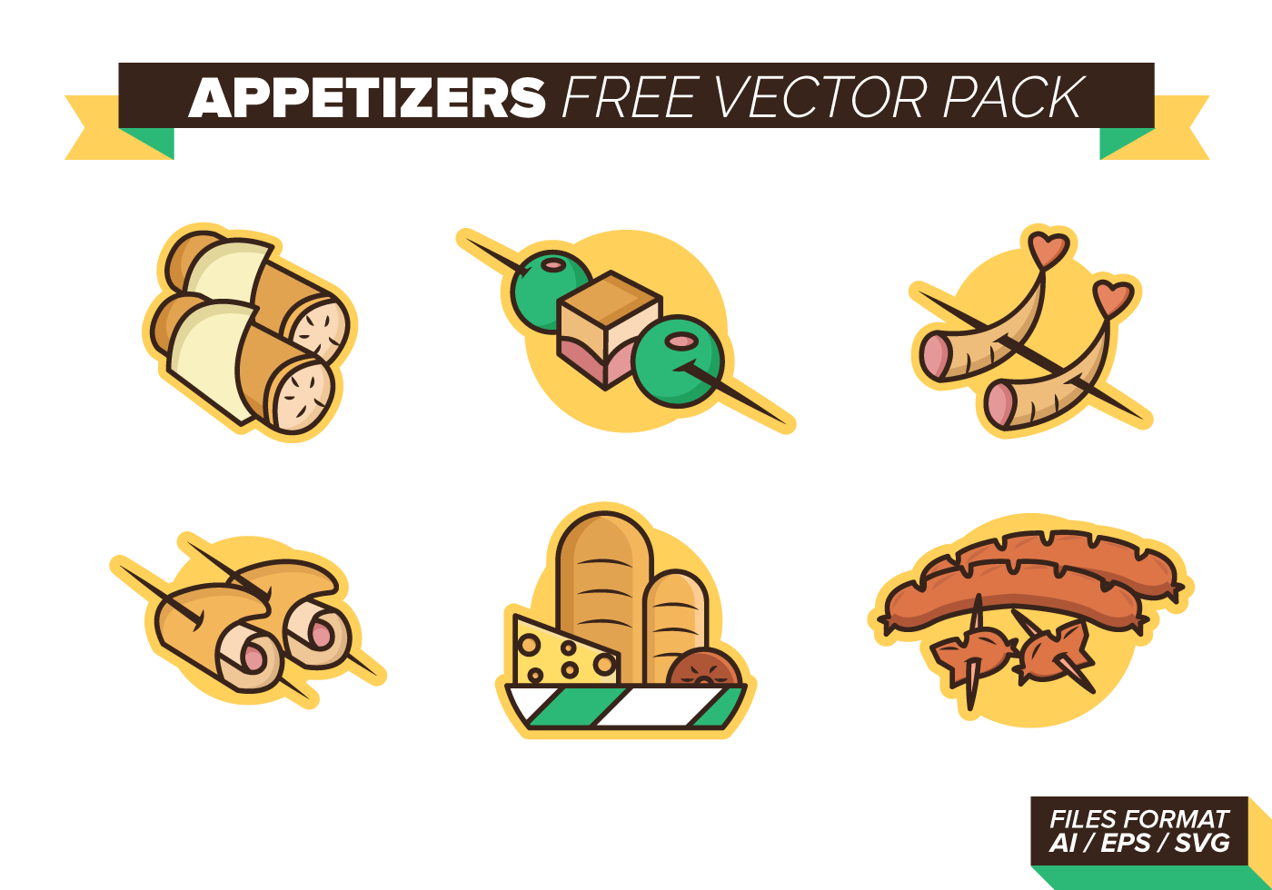 Appetizers free vector pack download free vector art for Canape vector download