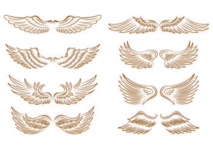 Set Of Angel Wings Icons