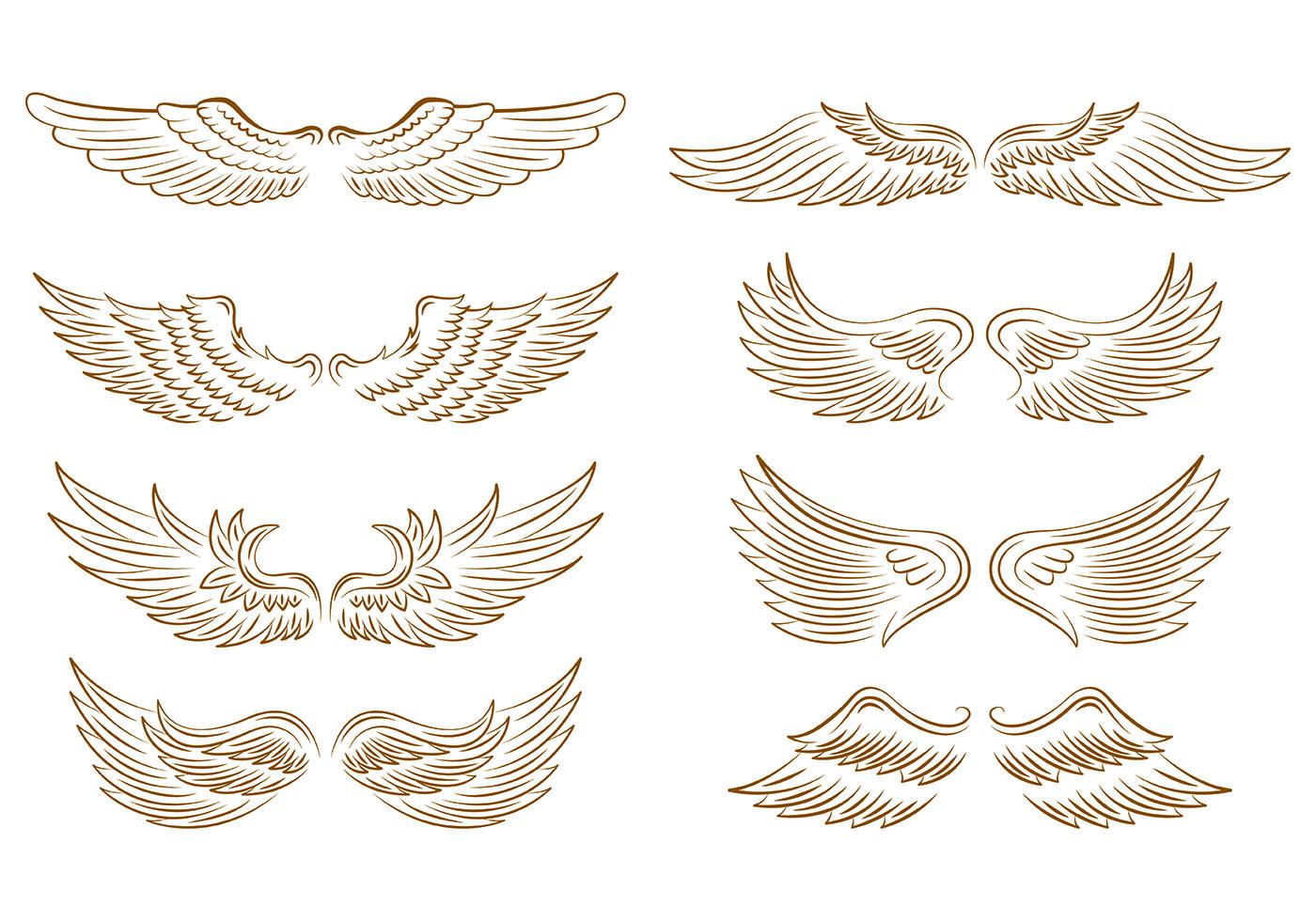Set Di Icone Di Ali D Angelo Scarica Gratis Arte Vettoriale