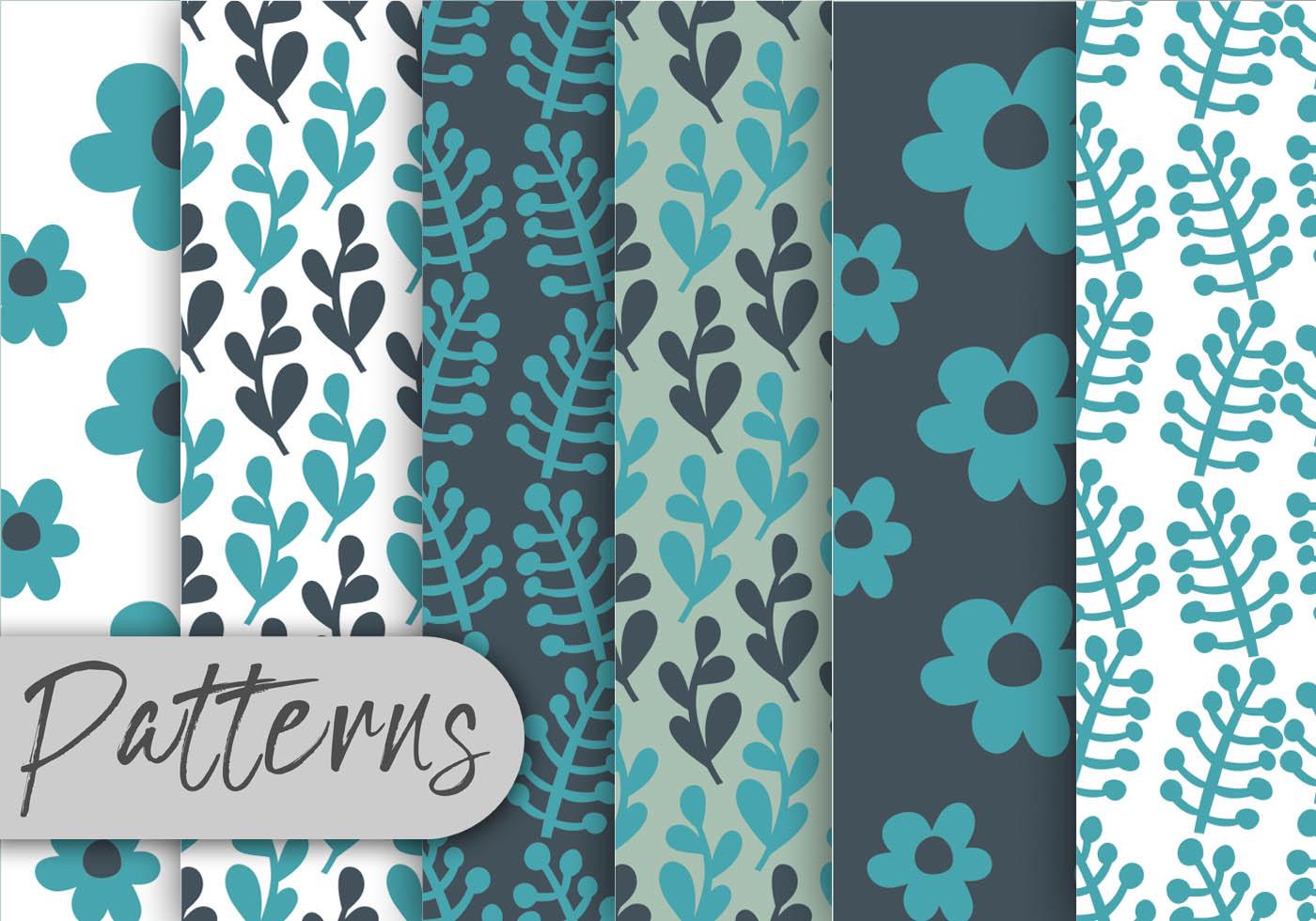 ensemble de motifs floraux bleus t l chargez de l 39 art des graphiques et des images vectoriels. Black Bedroom Furniture Sets. Home Design Ideas