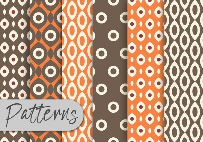 Conjunto de patrones geométricos naranja y marrón