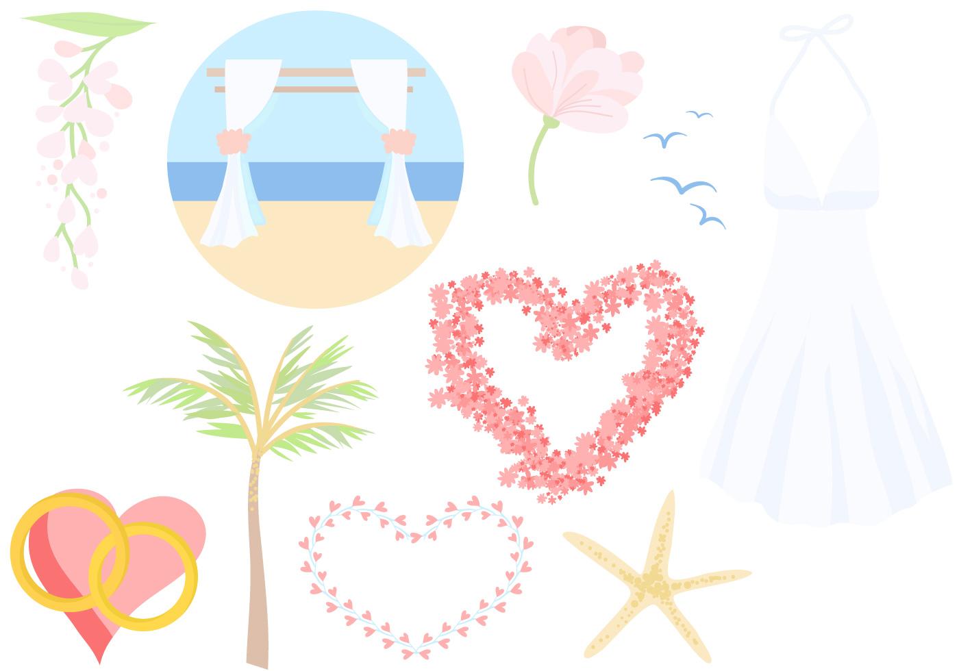 free beach wedding vectors