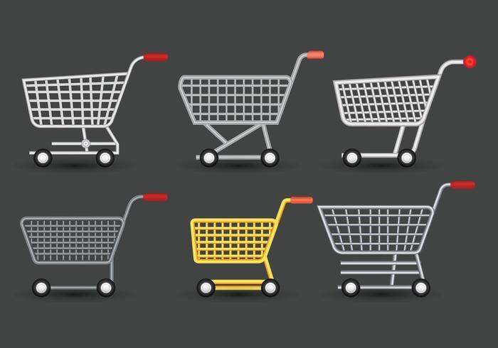 Supermarket cart vector set