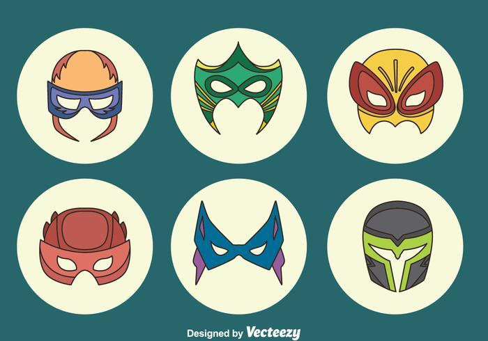 Gran Super Hero Máscara Colección Vector