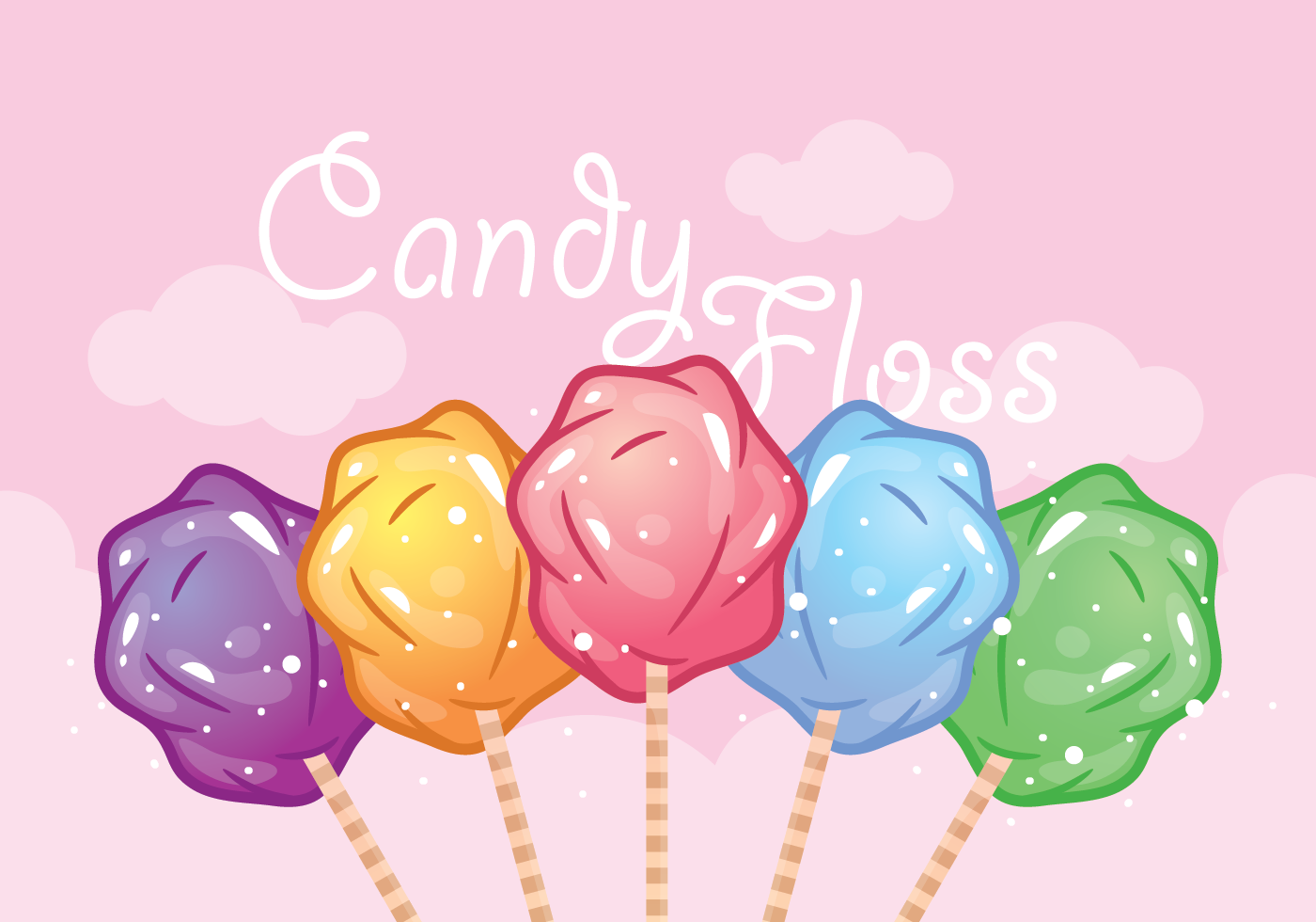 Multicolored Candy Floss Vector Download Free Vectors