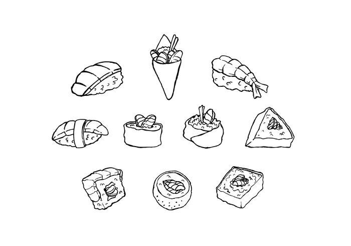 Gratis japansk mat skiss ikon vektor
