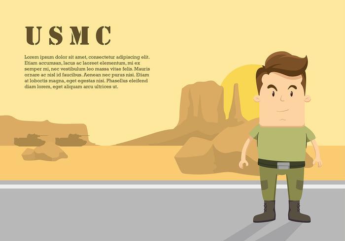 Vecteur libre de personnage de dessin animé USMC