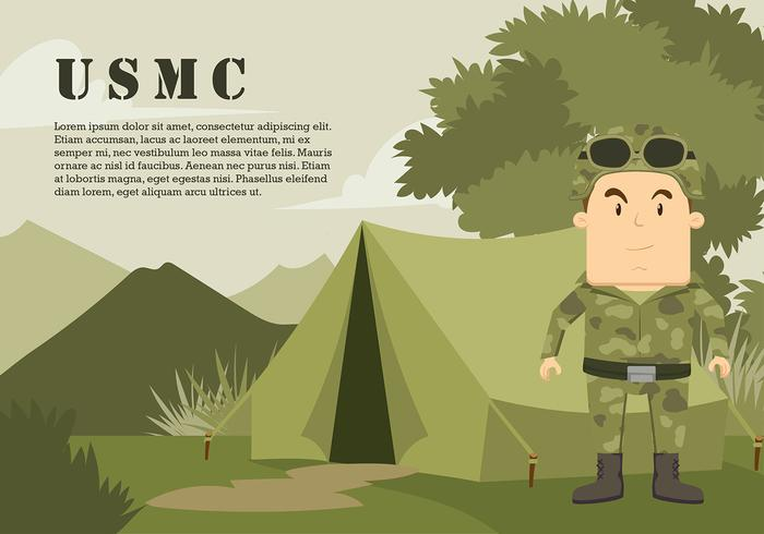 USMC Cartoon Character At The Jungle Gratis Vector