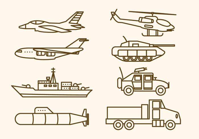 Flat Military Weapon Vectors