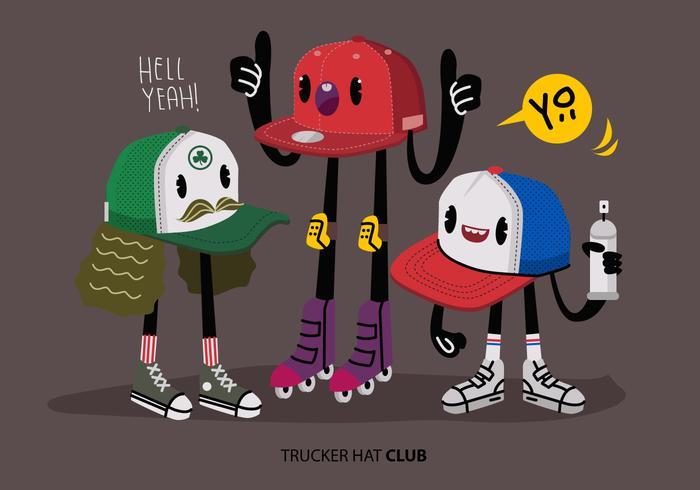 Ilustración divertida urbana del sombrero del camionero del carácter