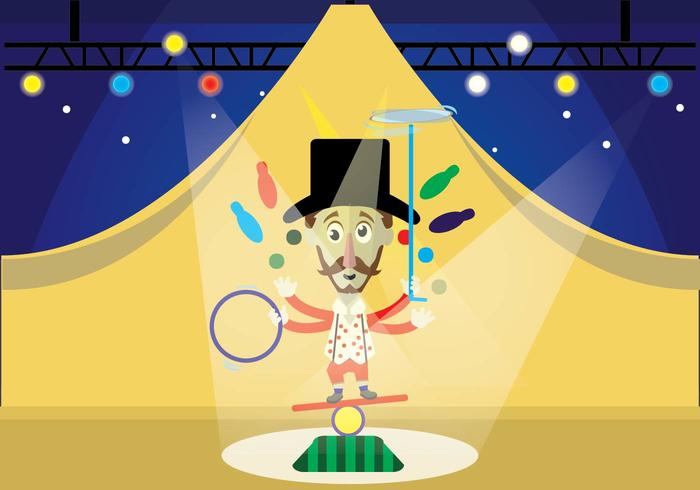 Multitasking circus performer show vector