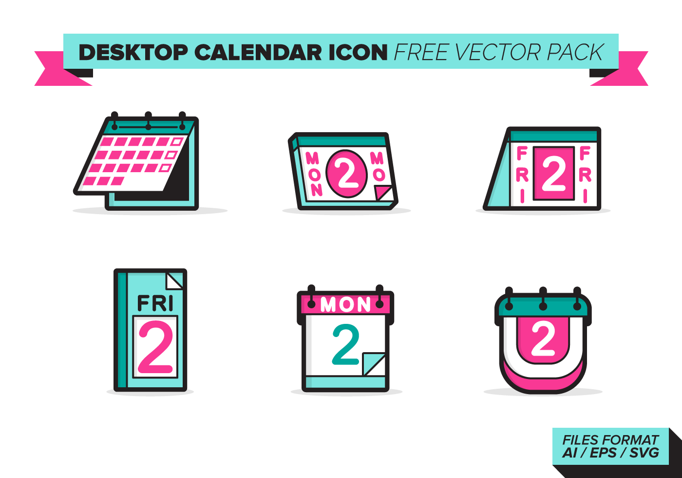 Calendar Vector Art Free : Desktop calendar icon vector pack download free
