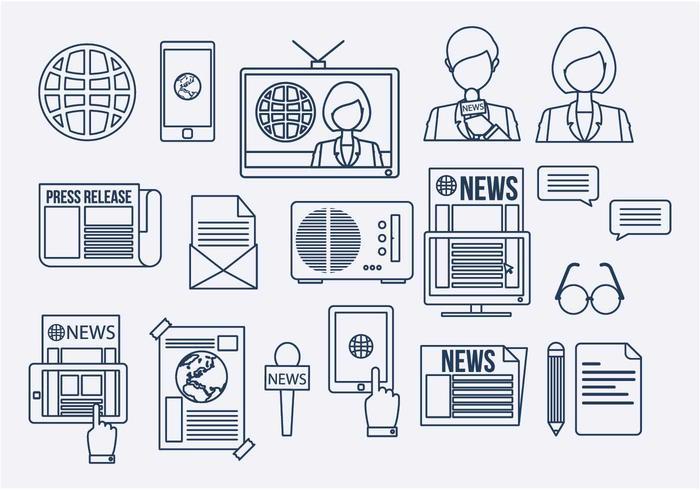 Media Network Line Icon Vector