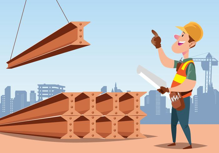 Construction Worker Guiding Girder Vector