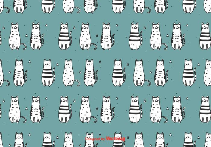 Doodle Cats Vector Pattern