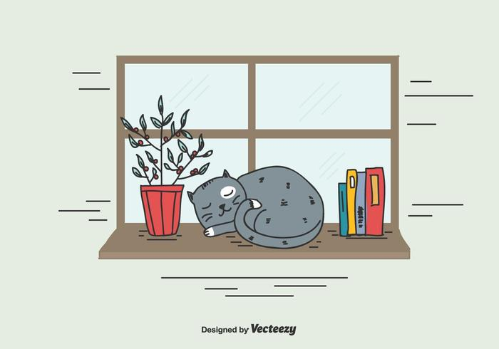 Sleeping gato vectorial