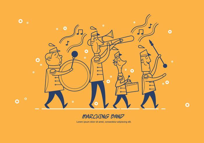 Marching Band Parade Vector Karaktär Illustration