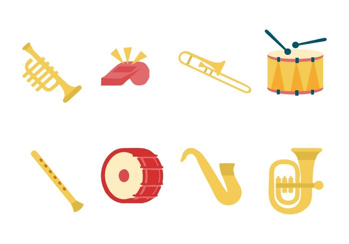 Free Marching Band Instrument Icons Vector