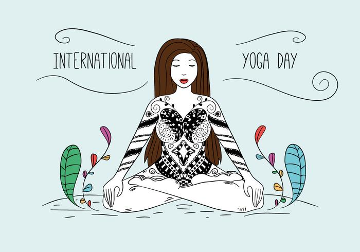 Yoga Woman Pose With Ornaments And Colorful Leaves vector