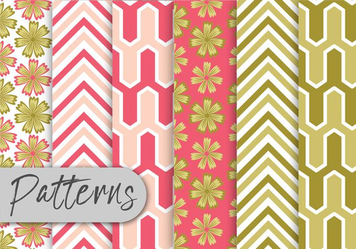 Pink And Green Pattern Set