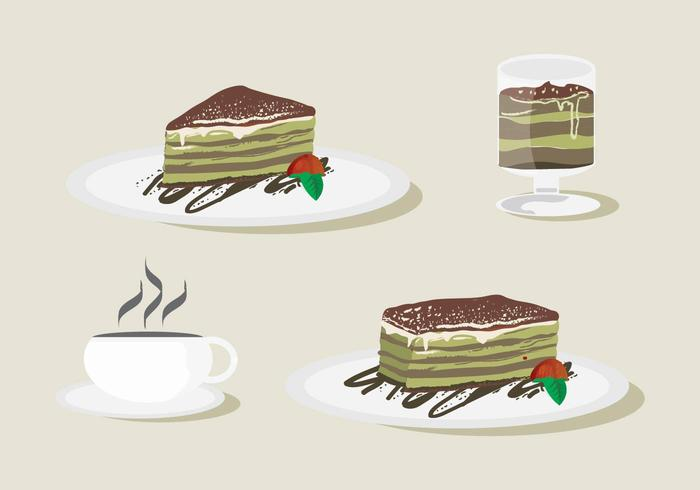 Zoetheid Tiramisu Vector Set