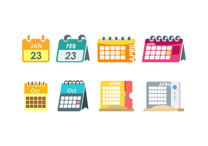 Platt stationär kalender fri vektor